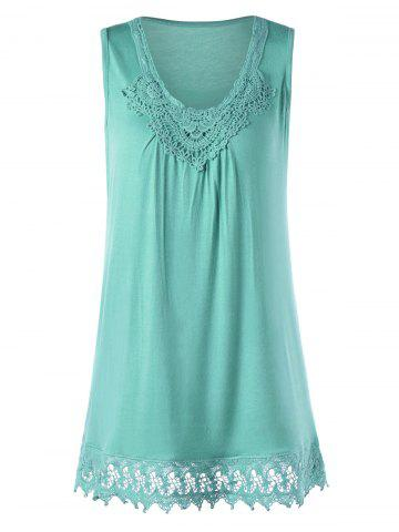 Latest Crochet Trim Tunic Top LAKE GREEN M