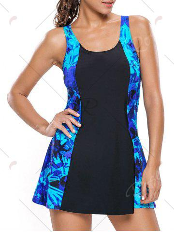 Fashion Lace Up Printed Skirted Swimsuit - S BLUE AND BLACK Mobile