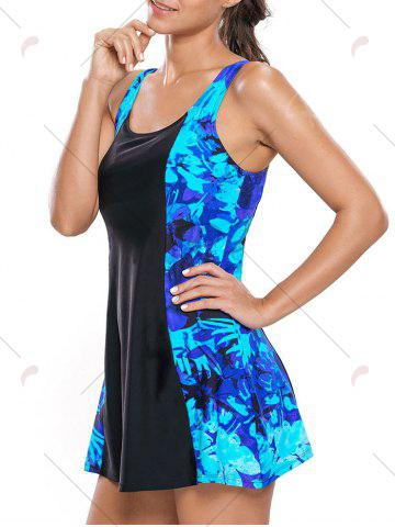 Sale Lace Up Printed Skirted Swimsuit - S BLUE AND BLACK Mobile