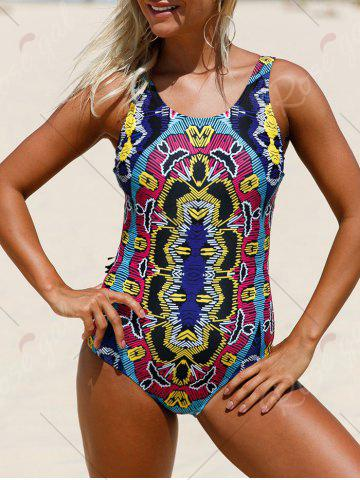 Hot Printed Lace Up Swimsuit - S COLORMIX Mobile