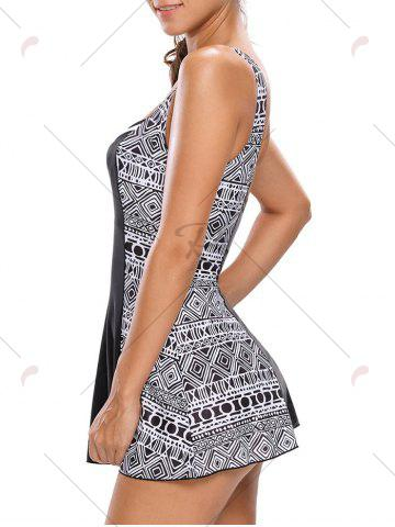 Sale One Piece Skirted Swimsuit - S WHITE AND BLACK Mobile