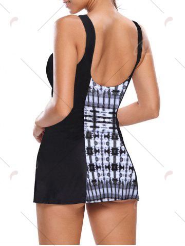 Buy One Piece Skirted Swimsuit - 2XL BLACK AND GREY Mobile