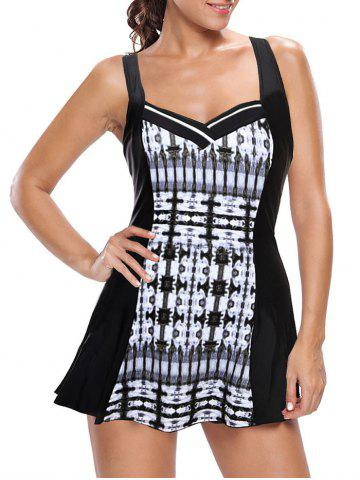 Trendy One Piece Skirted Swimsuit BLACK AND GREY M