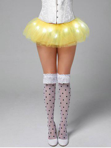 Best Tier Mesh Light Up Tutu Cosplay Skirt - ONE SIZE YELLOW Mobile