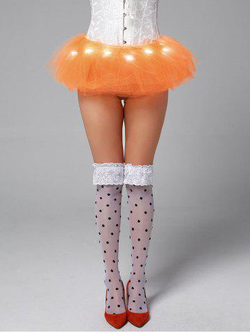 Sale Tier Mesh Light Up Tutu Cosplay Skirt - ONE SIZE ORANGE Mobile
