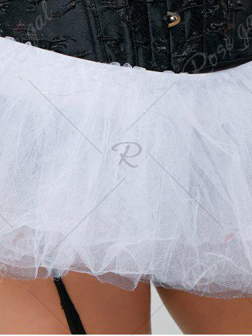Cheap Tier Mesh Light Up Tutu Cosplay Skirt - ONE SIZE WHITE Mobile