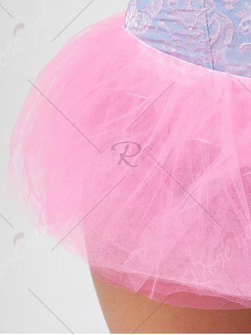 Discount Tier Mesh Light Up Tutu Cosplay Skirt - ONE SIZE LIGHT PINK Mobile