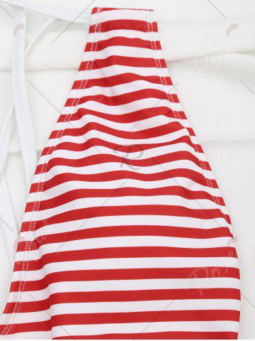 Outfits Cross Back One Piece Striped Swimsuit - S RED STRIPES Mobile