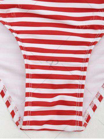 Unique Cross Back One Piece Striped Swimsuit - S RED STRIPES Mobile