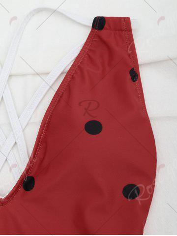 Cheap Cross Back Watermelon Swimsuit - S RED Mobile