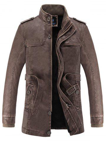 Affordable Rib Panel Stand Collar Faux Leather Longline Fleece Coat COFFEE L