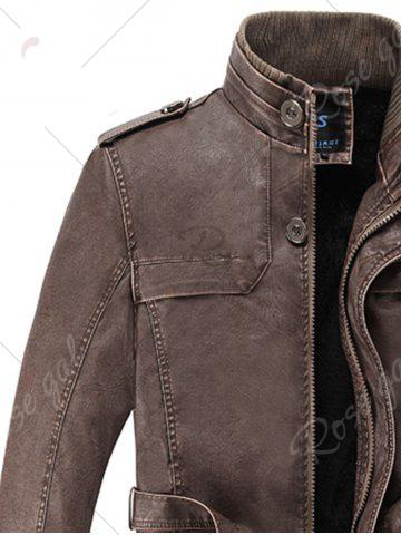 New Rib Panel Stand Collar Faux Leather Longline Fleece Coat - L COFFEE Mobile