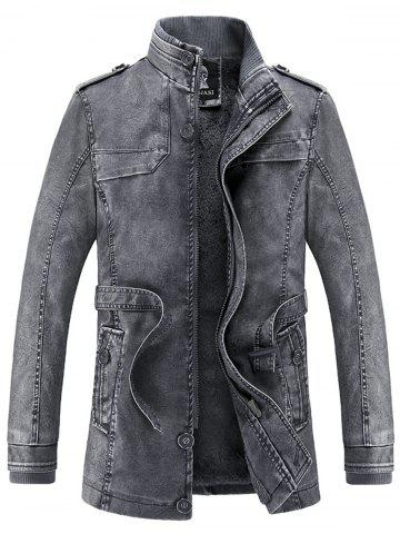Manteau en laine de palourde en cuir Faux Leather