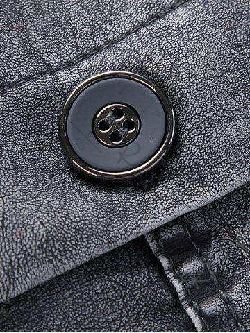 Buy Rib Panel Stand Collar Faux Leather Longline Fleece Coat - L BLUE GRAY Mobile