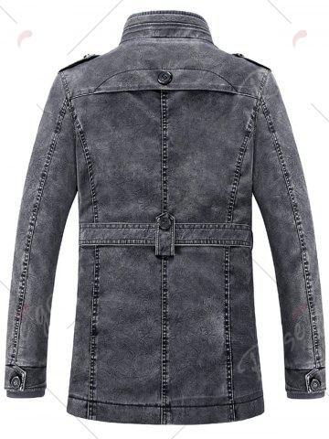Outfit Rib Panel Stand Collar Faux Leather Longline Fleece Coat - L BLUE GRAY Mobile