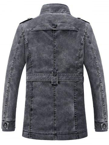 Online Rib Panel Stand Collar Faux Leather Longline Fleece Coat - XL BLUE GRAY Mobile