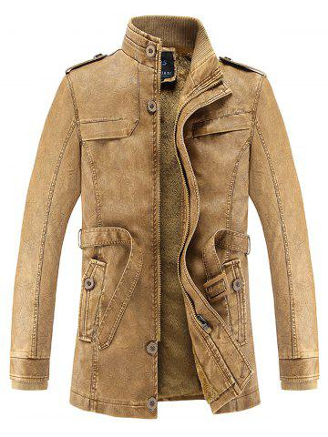 Manteau en laine de palourde en cuir Faux Leather Clémentine XL