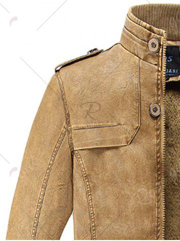 Outfits Rib Panel Stand Collar Faux Leather Longline Fleece Coat - XL CLEMENTINE Mobile
