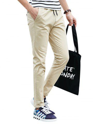 Outfits Drawstring Multi Pockets Design Casual Pants - XL LIGHT KHAKI Mobile
