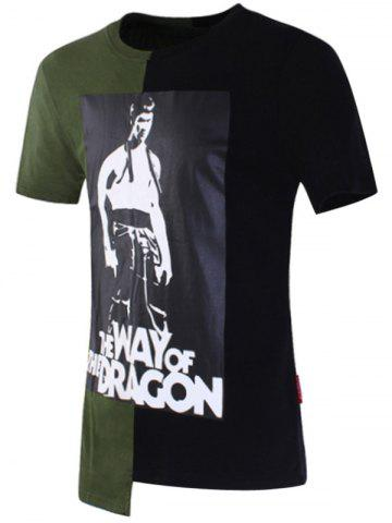 Shop Bruce Lee Printed Asymmetric T-shirt GREEN 2XL