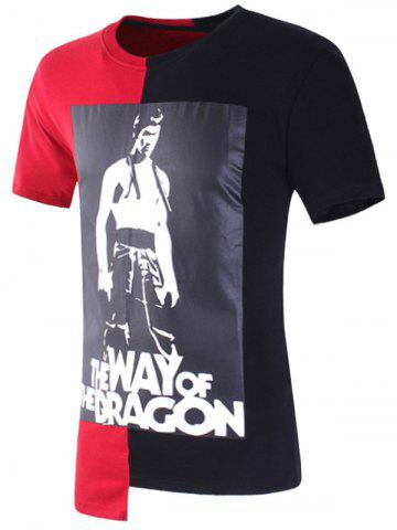Trendy Bruce Lee Printed Asymmetric T-shirt - 2XL RED Mobile