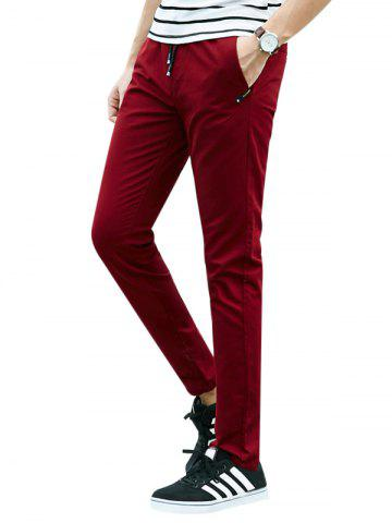 Buy Drawstring Multi Pockets Design Casual Pants - 4XL DEEP RED Mobile