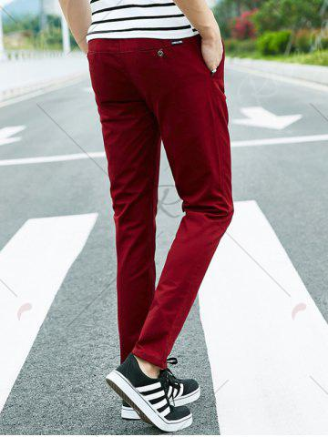 Fashion Drawstring Multi Pockets Design Casual Pants - 4XL DEEP RED Mobile