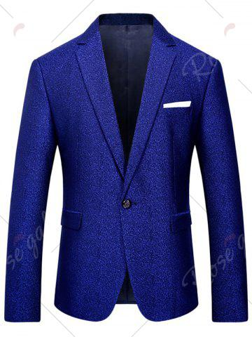 Hot One Button Heathered Blazer Suit - 4XL ROYAL Mobile
