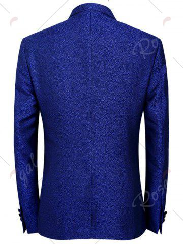 Best One Button Heathered Blazer Suit - 4XL ROYAL Mobile