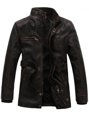 Discount Rib Panel Stand Collar Zip Up PU Leather Fleece Coat - XL COFFEE Mobile