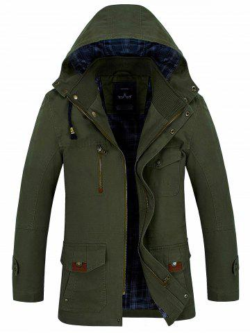 Snap Button Pocket Hooded Coat - Army Green - L