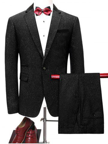 One Button Glittering Blazer Suit Noir L