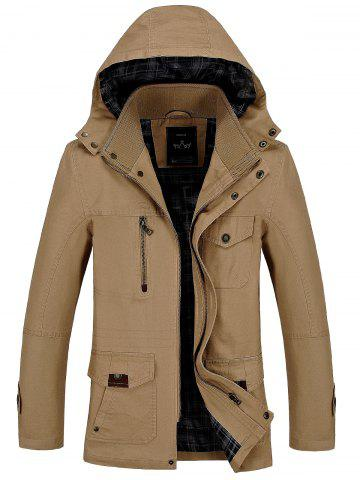 Buy Snap Button Pocket Hooded Coat - XL KHAKI Mobile