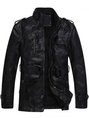 Epaulet and Belt Zip Up Fleece PU Leather Coat - Black - 3xl