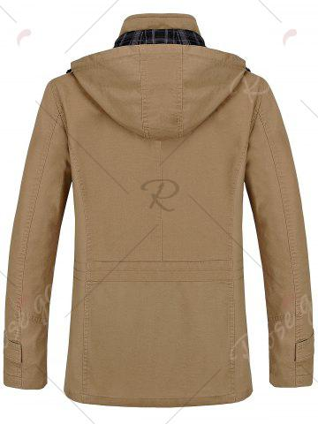 Sale Snap Button Pocket Hooded Coat - 2XL KHAKI Mobile