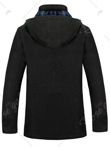 Fashion Snap Button Pocket Hooded Coat - 4XL BLACK Mobile