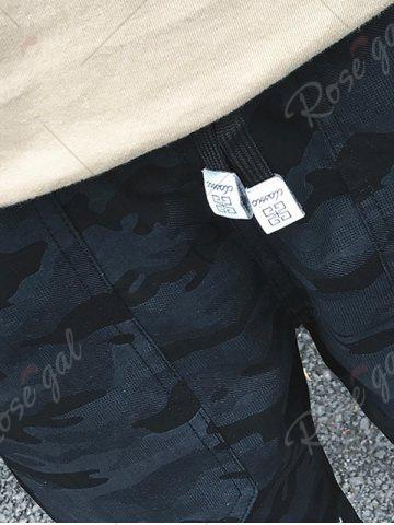 Affordable Camouflage Big Pocket Shorts - 4XL PURPLISH BLUE Mobile
