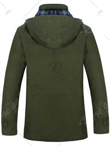 Outfits Snap Button Pocket Hooded Coat - 4XL ARMY GREEN Mobile