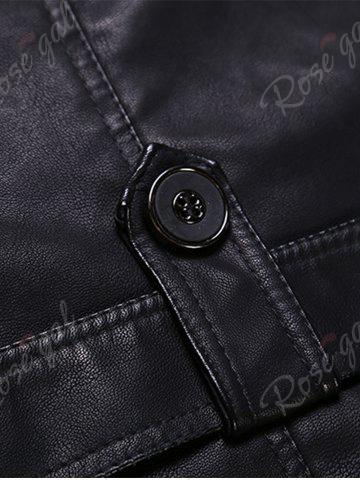 Outfits Epaulet and Belt Zip Up Fleece PU Leather Coat - XL BLACK Mobile