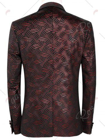Outfits Net Pattern One Button Blazer Suit - 4XL DARK RED Mobile