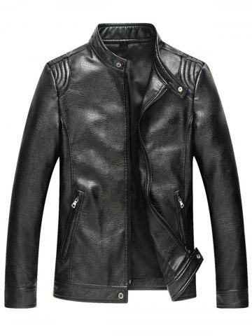 Slim Fit Stand Collar Faux Leather Jacket - Black - L