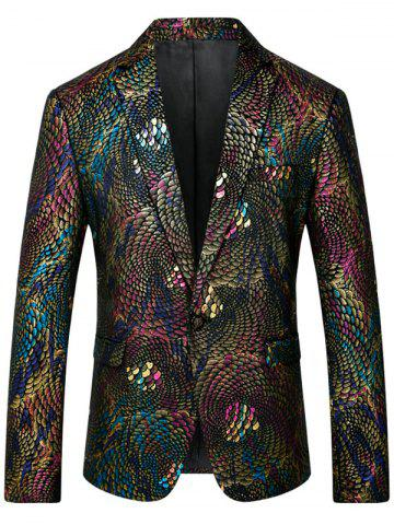 Sale One Button Colorful Scales Pattern Blazer - 4XL COLORMIX Mobile
