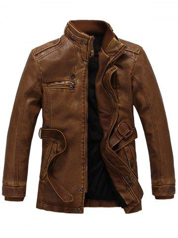 Hot Rib Panel Stand Collar Zip Up PU Leather Fleece Coat - 3XL EARTHY Mobile