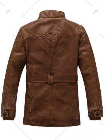 Best Rib Panel Stand Collar Zip Up PU Leather Fleece Coat - 3XL EARTHY Mobile