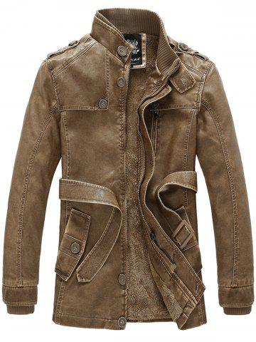 Shops Rib Panel Stand Collar Epaulet PU Leather Fleece Coat with Belt - 4XL CLEMENTINE Mobile