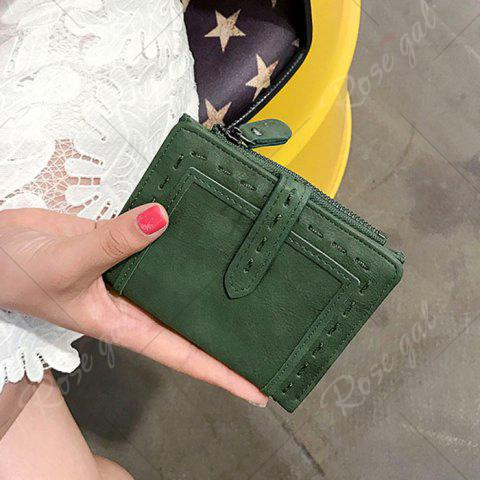 Affordable Stitching Bifold Small Wallet - GREEN  Mobile
