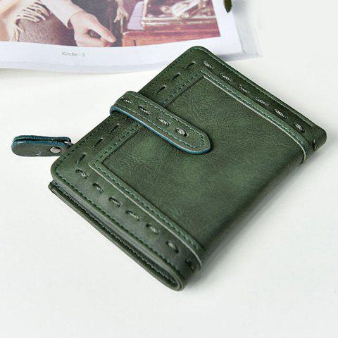 Online Stitching Bifold Small Wallet - GREEN  Mobile