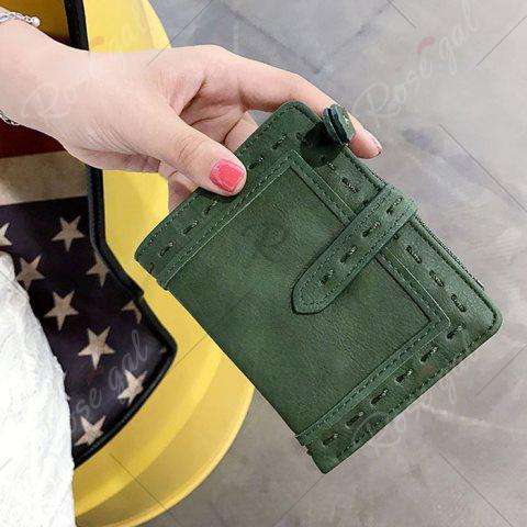 Discount Stitching Bifold Small Wallet - GREEN  Mobile