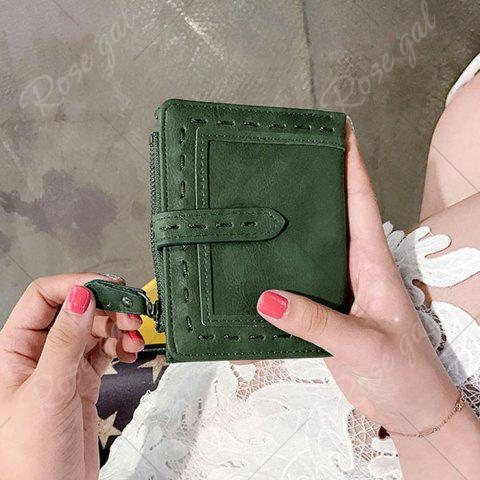 Unique Stitching Bifold Small Wallet - GREEN  Mobile
