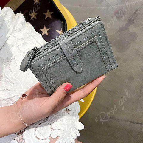 Cheap Stitching Bifold Small Wallet - GRAY  Mobile